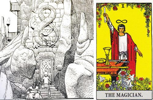 En magus anländer till sin skapelse: Major Grubert delar symbol med tarotkortet Magikern, och har precis som denne tillgång till både himmelska och jordiska verklighetsplan.